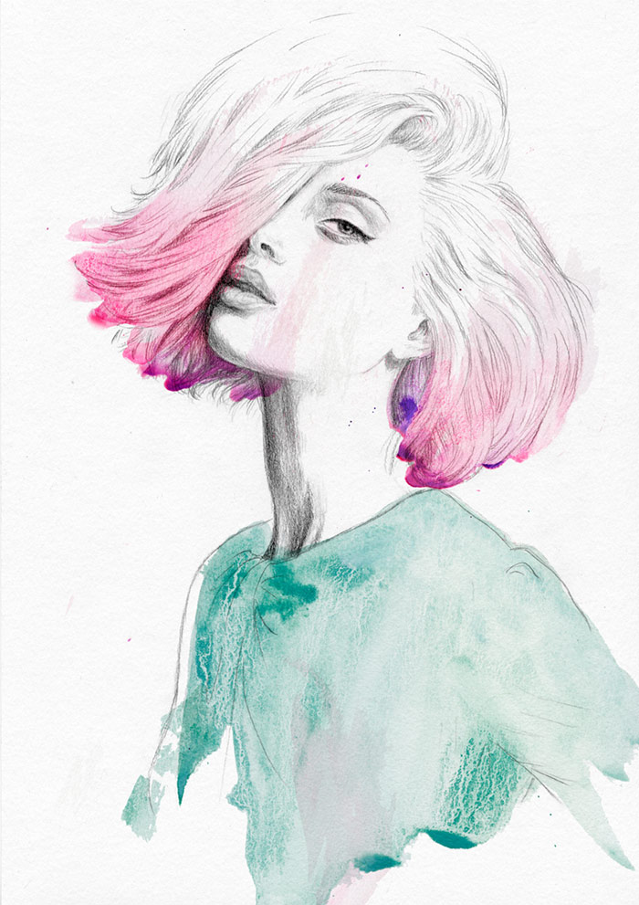 Pink Hair Don't Care - fashion illustration by Jutta Rikola