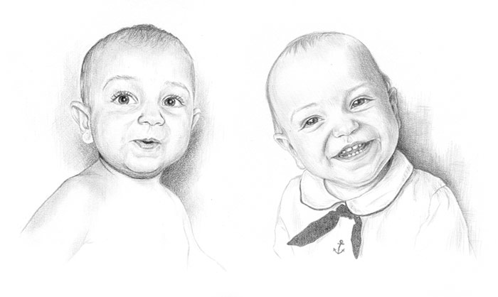 Pencil portrait of baby John