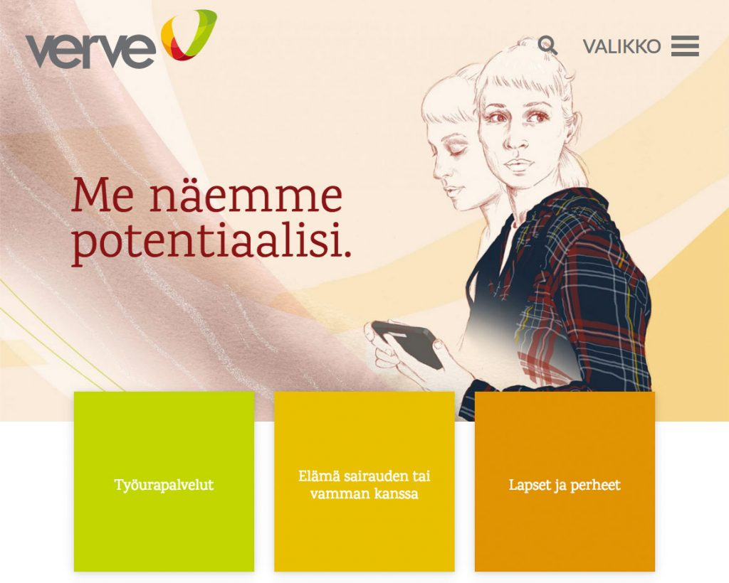Verve website frontpage